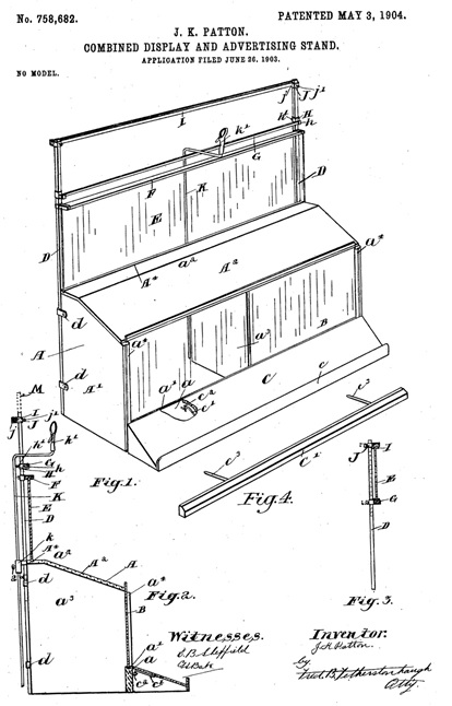 "John Killips Patton, United States patent for ""combined display and advertising stand""; US 758682 A; https://www.google.com/patents/US758682."