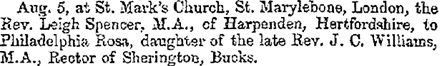 """Clergymen Married,"" Jackson's Oxford Journal (Oxford, England), Issue 5128, August 9, 1851, page 3."
