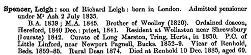 Biographical Register of Christ's College, 1505-1905, Volume 2, 1666-1905, page 455; https://books.google.ca/books?id=I9s8AAAAIAAJ&pg=PA455&lpg=PA455&dq=leigh+spencer#v=onepage&q=leigh%20spencer&f=false.