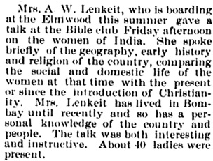 Mrs. A.W. Lenkeit, Society, Bellows Falls Times (Bellows Falls, Vermont), August 29, 1895, page 5, image 5, http://chroniclingamerica.loc.gov/lccn/sn84022549/1895-08-29/ed-1/seq-5/#date1=1789&index=7&rows=20&words=Lenkeit&searchType=basic&sequence=0&state=&date2=1924&proxtext=lenkeit&y=0&x=0&dateFilterType=yearRange&page=1