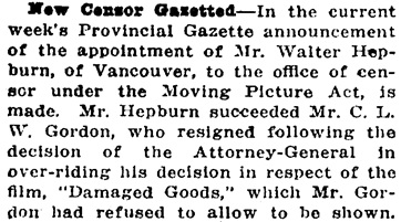 Victoria Daily Colonist, September 14, 1917, page 6, column 3; http://archive.org/stream/dailycolonist59y239uvic#page/n5/mode/1up.