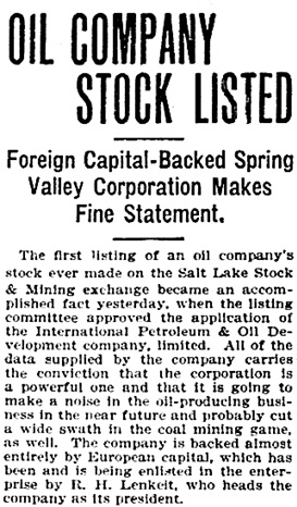 """Oil Company Stock Listed,"" The Salt Lake Herald, August 4, 1909, Page 6, Image 6, [first portion of article]; http://chroniclingamerica.loc.gov/lccn/sn85058130/1909-08-04/ed-1/seq-6/."