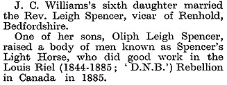 """John Charles Williams, A Buckinghamshire Parson and Some of His Descendants,"" by William Bull, Notes and Queries, series 12, volume 10, number 202, February 25, 1922, page 147; https://archive.org/stream/s12notesqueries10londuoft#page/147/mode/1up."