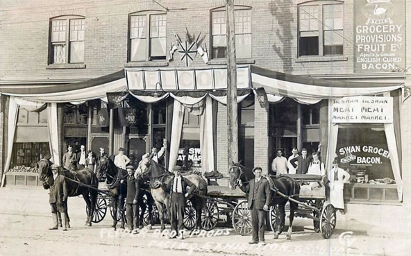 """Pepper Brothers Props. Facing Exhibition Grounds"" [Swan Meat Market], Calgary, Alberta [1910]; https://www.pinterest.com/pin/453878468666749496/."