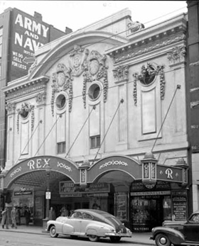 Rex Theatre, 1950; Vancouver Public Library, VPL Accession Number: 81230; http://www3.vpl.ca/spePhotos/LeonardFrankCollection/02DisplayJPGs/200/81230.jpg.