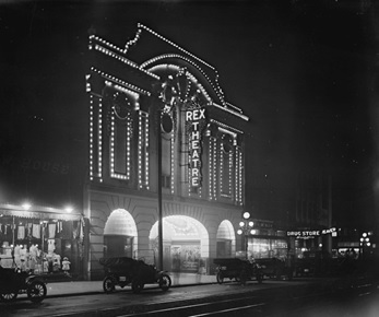 Rex Theatre by night, 1914, City of Vancouver Archives; CVA 99-240; http://searcharchives.vancouver.ca/rex-theatre-by-night.