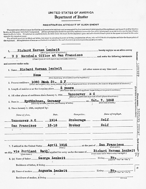 """California, San Francisco, World War I Enemy Alien Registration Affidavits, 1918,"" database with images, FamilySearch (https://familysearch.org/ark:/61903/1:1:KDZK-QPJ : 27 December 2014), Richard Herman Lenkeit, 1918; citing San Francisco, San Francisco, California, United States, San Francisco Public Library, History and Archives."