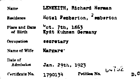 """Massachusetts Naturalization Index, 1906-1966,"" database, FamilySearch (https://familysearch.org/ark:/61903/1:1:XL1B-T3F : 4 December 2014), Richard Herman Lenkeith, 1923; from ""Index to Petitions and Records of Naturalizations of the U.S. and District Courts for the District of Massachusetts, 1907-1966,"" database, Fold3.com (http://www.fold3.com : n.d.); citing NARA microfilm publication M1545 (Washington, D.C.: National Archives and Records Administration, n.d.), roll 17."