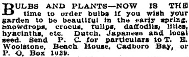 Victoria Daily Colonist, August 30, 1910, page 16, column 6; http://archive.org/stream/dailycolonist53214uvic#page/n15/mode/1up.