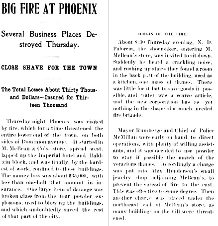 """Big Fire at Phoenix,"" The Greenwood Miner, January 19, 1901, page 1 [selected portions], https://open.library.ubc.ca/collections/bcnewspapers/greemine/items/1.0081972#p0z-2r0f:"