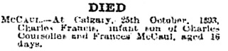 Calgary Herald, October 27, 1893, page 8, column 5, http://www.ourfutureourpast.ca/newspapr/np_page2.asp?code=n8pp0272.jpg.
