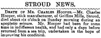 Charles Hooper, death notice, Citizen (Gloucester, England), issue 221, September 18, 1893, page 4.