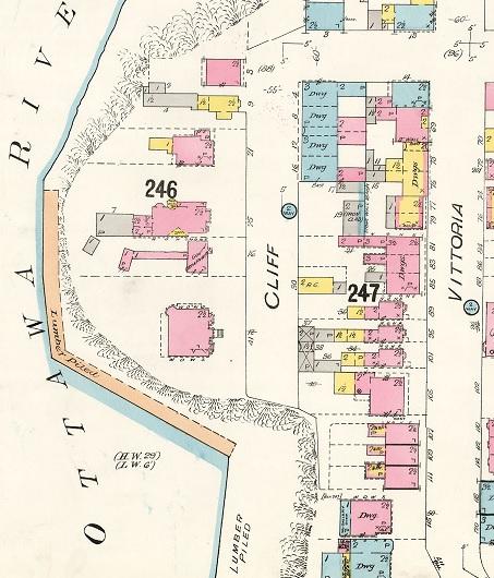 Cliff Street, Ottawa, Ontario, 1912; detail from Insurance plan of the city of Ottawa, Ontario, Volume 1, September 1902, revised 1912, Sheet 39, http://data2.archives.ca/e/e428/e010689339-v8.jpg.