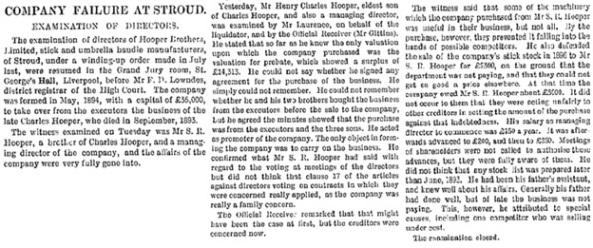 """""""Company Failure at Stroud,"""" The Bristol Mercury and Daily Post (Bristol, England), issue 15835, February 10, 1899, page 3."""