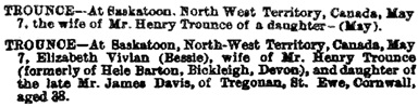 Elizabeth Vivian Trounce, death notice, The Royal Cornwall Gazette Falmouth Packet, Cornish Weekly News, & General Advertiser (Truro, England), issue 4375, June 3, 1887, page 5. [selected portions].
