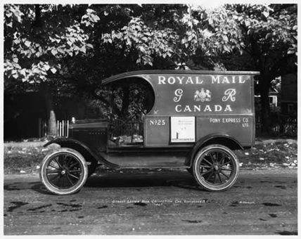 Ford truck used by the Pony Express Company to do street letter box collection for the Royal Mail, 1927; Vancouver Public Library; VPL Accession Number: 9082A; http://www3.vpl.ca/spePhotos/LeonardFrankCollection/02DisplayJPGs/1704/9082A.jpg.