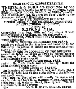 Griffin's Mill, notice of auction, The Bristol Mercury and Daily Post (Bristol, England), issue 15771, November 26, 1898, page 1.
