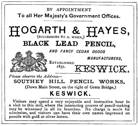 Hogarth and Hayes, advertisement, Ward and Lock's (late Shaw's) illustrated guide to and popular history of North Wales, page 5; Ward, Lock and Co. Ltd. 1884, page 5 of advertising section; https://books.google.ca/books?id=KsMHAAAAQAAJ&pg=RA1-PT5&lpg=RA1-PT5&dq=%22hogarth+%26+hayes%22#v=onepage&q=%22hogarth%20%26%20hayes%22&f=false.