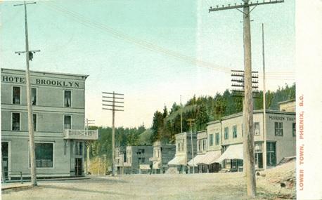 Phoenix, Lower Town, Hotel Brooklyn, 1906, postcard; https://www.flickr.com/photos/woodhead/5310813773.