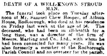 Samuel Chew Hooper, obituary, Cheltenham Chronicle and Gloucestershire Graphic (Cheltenham, England), Issue 4759, April 6, 1901, page 4 [excerpt].