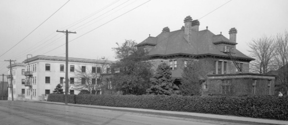 The Angus Apartments; about 1925; Vancouver City Archives, Bu N233 [cropped]; http://searcharchives.vancouver.ca/b-t-rogers-house-davie-street-at-nicola-street-2.
