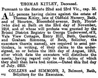 The London Gazette, July 6, 1915, page 6625; https://www.thegazette.co.uk/London/issue/29218/page/6625.
