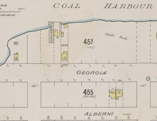 1800 Block Georgia Street - detail from Insurance plan of the city of Vancouver - British Columbia - July 1897 - revised June 1901; sheet 43; http://data2.archives.ca/e/e427/e010674745-v8.jpg.