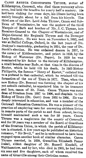 Arthur Christopher Thynne, obituary, The Times (London, England), issue 38533, January 3, 1908, page 3.