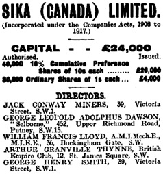 Sika (Canada) Limited, corporate notice, The Financial Times (London, England), Edition 12,477, December 24, 1928; page 10.