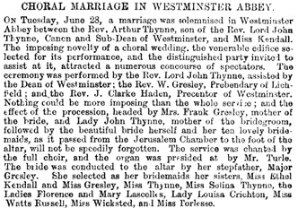 """Choral Marriage in Westminster Abbey,"" Illustrated London News (London, England), issue 982, July 9, 1859, page 31."