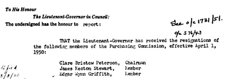 Clare Bristow Peterson, resignation as chairman of purchasing commission; British Columbia Order in Council 549/1950; March 22, 1950; http://www.bclaws.ca/civix/document/id/oic/arc_oic/0549_1950.