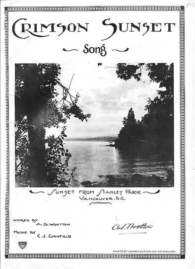 Crimson Sunset, sheet music, words by Allen Shakespeare Wootton; music by Charles James Cornfield; 1927; http://bcsheetmusic.ca/htmpages/crimsonsunset.html. [link leads to sheet music and MIDI file].