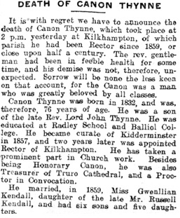 """Death of Canon Thynne,"" The Western Times (Exeter, England), Issue 18247, January 3, 1908, page 5."