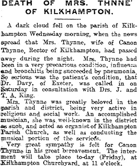 """Death of Mrs. Thnne [sic],"" The Western Times (Exeter, England), issue 17379, March 17, 1905, page 12."