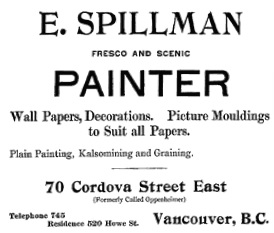 E. Spillman, advertisement, Vancouver City Directory, 1899-1900; page 5.