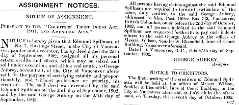 Edmund Spillman, notice of assignment, The British Columbia Gazette, October 9, 1902, pages 1830-1831; https://archive.org/stream/governmentgazett41nogove_z5r8#page/n51/mode/1up; https://archive.org/stream/governmentgazett41nogove_z5r8#page/n52/mode/1up.
