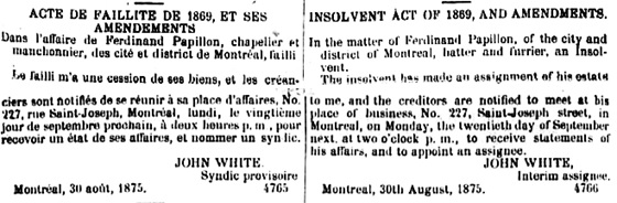 Ferdinand Papillon, meeting of creditors, Quebec Official Gazette; September 4, 1875; pages 1845-1846; http://collections.banq.qc.ca:81/jrn03/goq/src/1875/09/04/116644_1875-09-04.pdf.