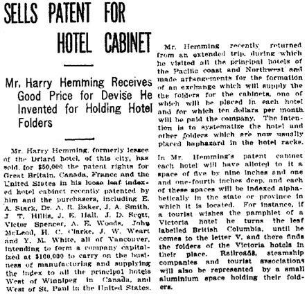 Victoria Daily Colonist, October 14, 1910, page 3, column 4; http://archive.org/stream/dailycolonist53266uvic#page/n2/mode/1up.
