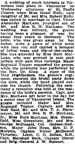 Hazel Kelly and Victor Alexander MacLean, wedding description, Victoria Times, May 30, 1919, page 6.