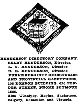 Henderson's Vancouver Directory, 1921, page 705.