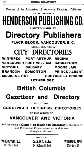 Henderson's City of Vancouver and North Vancouver Directory, 1909, page 196.