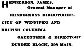 Henderson's Winnipeg city directory for 1901, page 306; http://peel.library.ualberta.ca/bibliography/921.3.2/298.html.