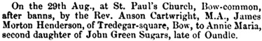 James Morton Henderson and Annie Marie Sugars, marriage notice, Northampton Mercury (Northampton, England), Issue 27, September 8, 1866; page 8.