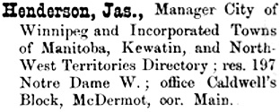 Henderson's directory of the City of Winnipeg and incorporated towns of Manitoba. Winnipeg: Winnipeg Directory Publishing Co, 1880, page 81; http://peel.library.ualberta.ca/bibliography/921.1.1/83.html.
