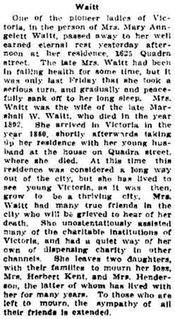 Victoria Daily Colonist, January 18, 1911, page 7, column 5; http://archive.org/stream/dailycolonist53345uvic#page/n6/mode/1up.