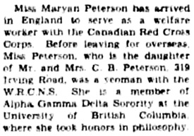 Victoria Daily Colonist, June 29, 1945, page 6, column 4; http://archive.org/stream/dailycolonist0645uvic_23#page/n5/mode/1up.