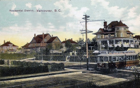 Postcard: northeast corner of Nicola Street and Davie Street, Vancouver, BC, c.1906; Robert Kelly house on right, just above streetcar; [source: https://flic.kr/p/cQ4dsh.]