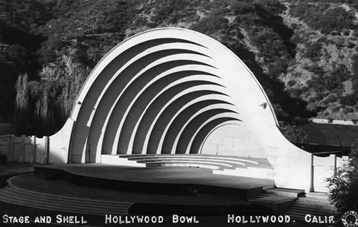 Postcard view of the shell and stage at the Hollywood Bowl (1929); http://waterandpower.org/museum/Early_Views_of_the_Hollywood_Bowl.html.