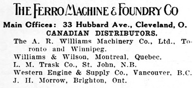 The Ferro Machine and Foundry Company, advertisement (portion), Rod and Gun in Canada, March 1911, volume 12, number 10, page 3, https://archive.org/stream/rodandguncanada19101911#page/n460/mode/1up.