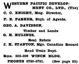 Henderson's City of Vancouver and North Vancouver Directory, 1910, Part 2, page 1222.